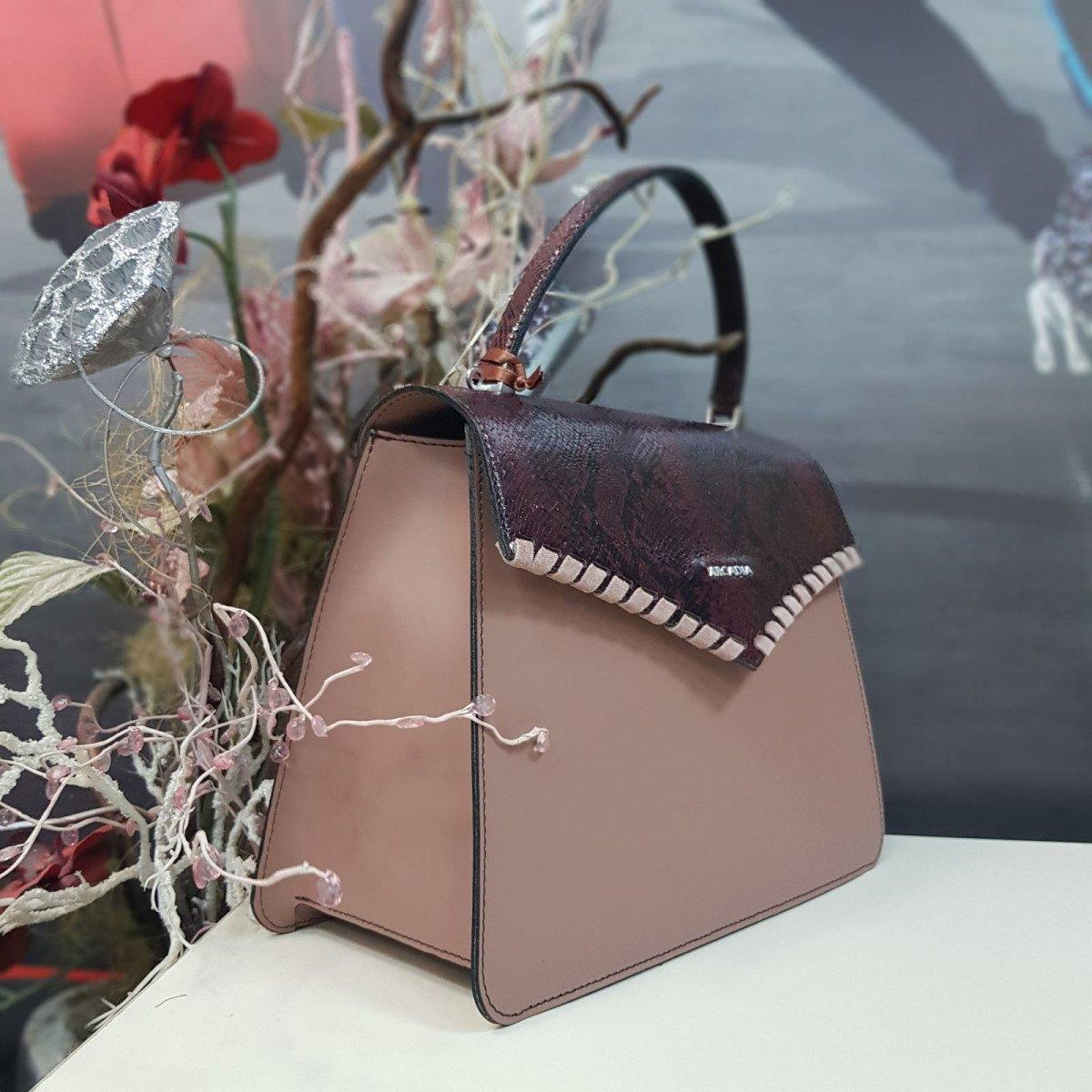 Женская кожаная сумка Arcadia 7537 ruga pit rosa rubino из натуральной кожи
