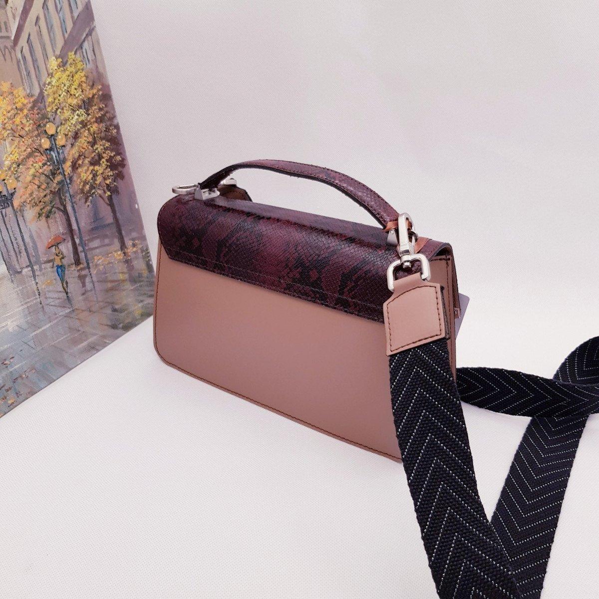 Женская кожаная сумка Arcadia 7538 ruga pit rosa rubino из натуральной кожи