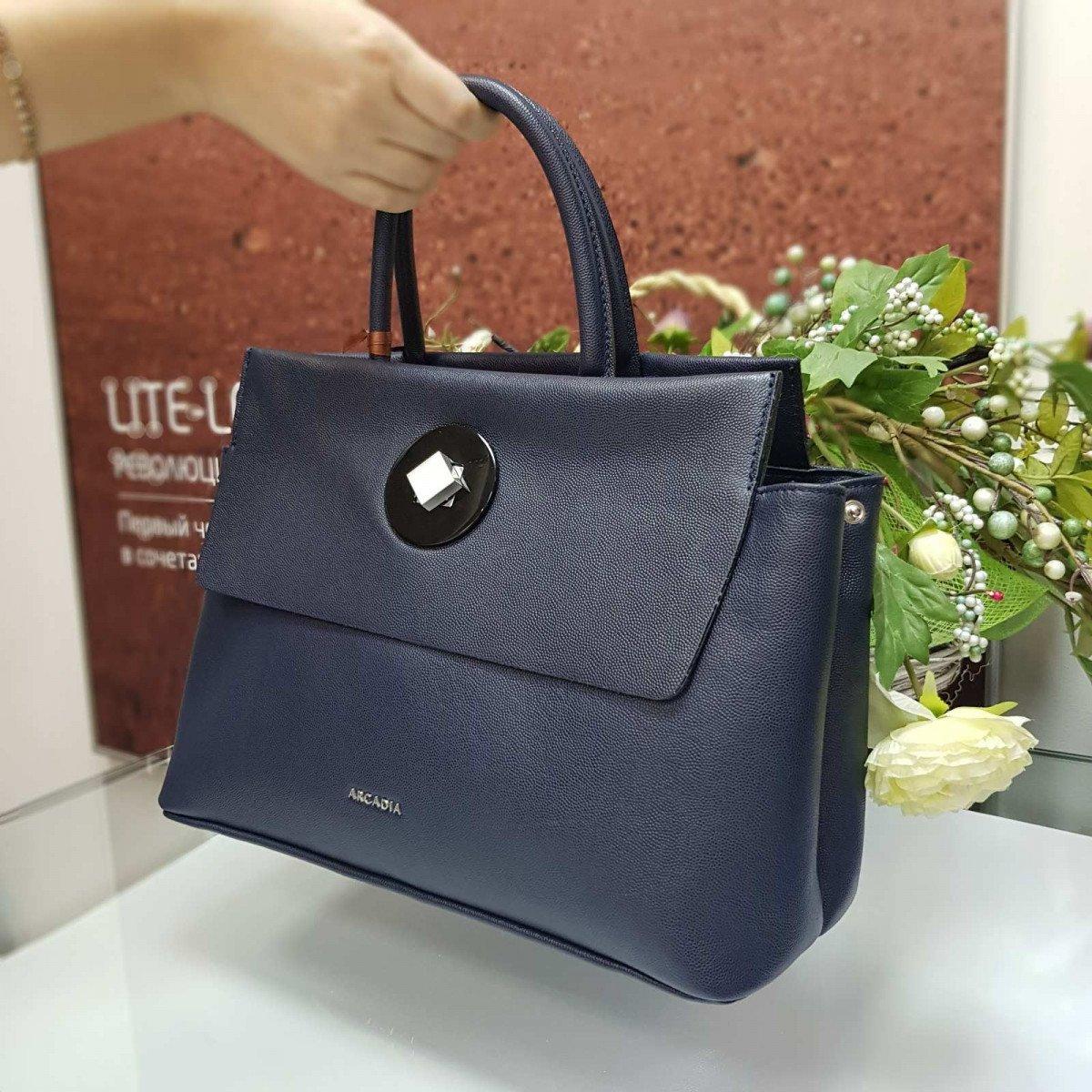 Женская кожаная сумка Arcadia 8670 brein blu из натуральной кожи