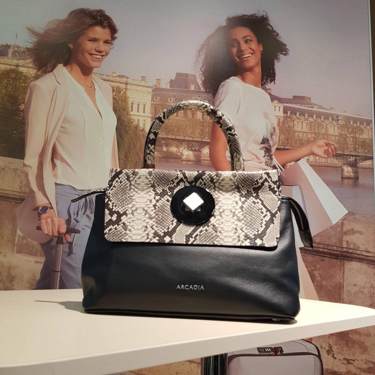 Женская кожаная сумка Arcadia 8671 vit pit nero roccia из натуральной кожи