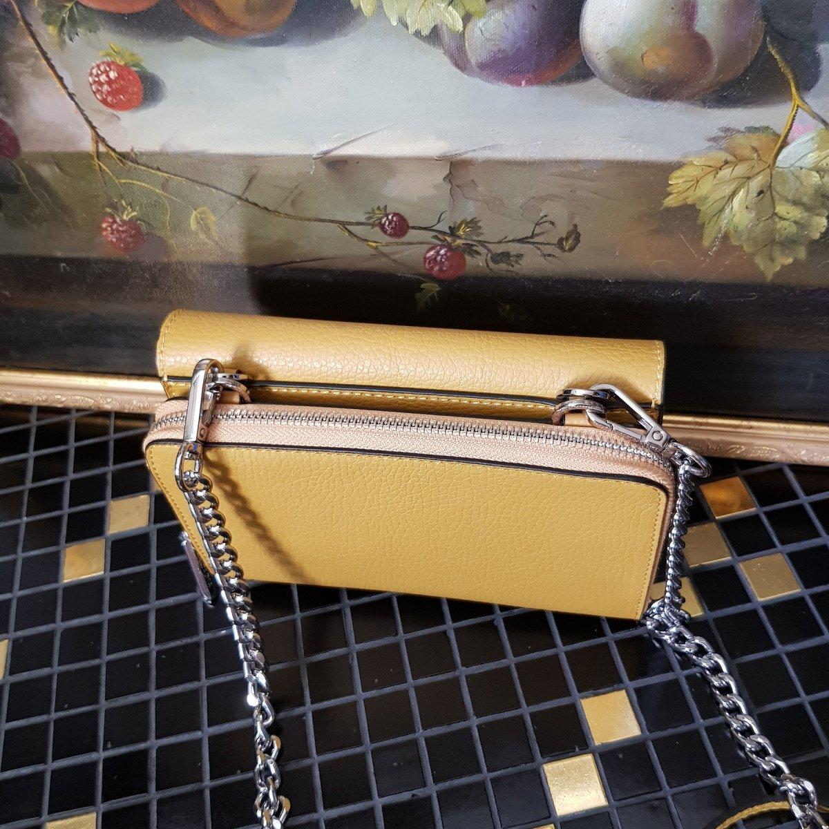Итальянская женская сумка Arcadia 2788 doll ocra из натуральной кожи