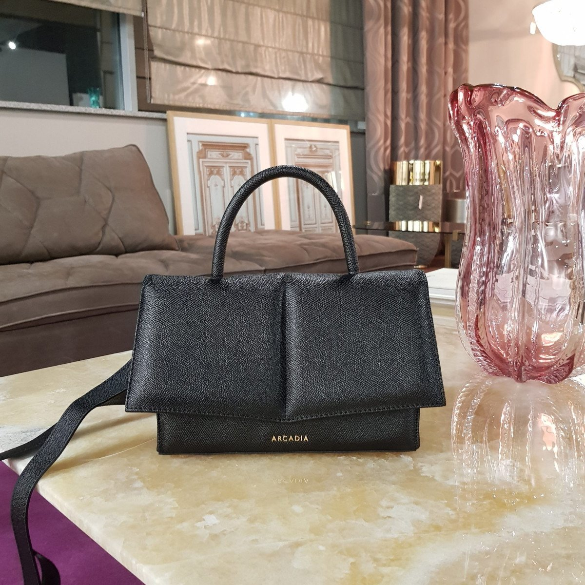 Итальянская женская сумка Arcadia 3939 galux nero из натуральной кожи