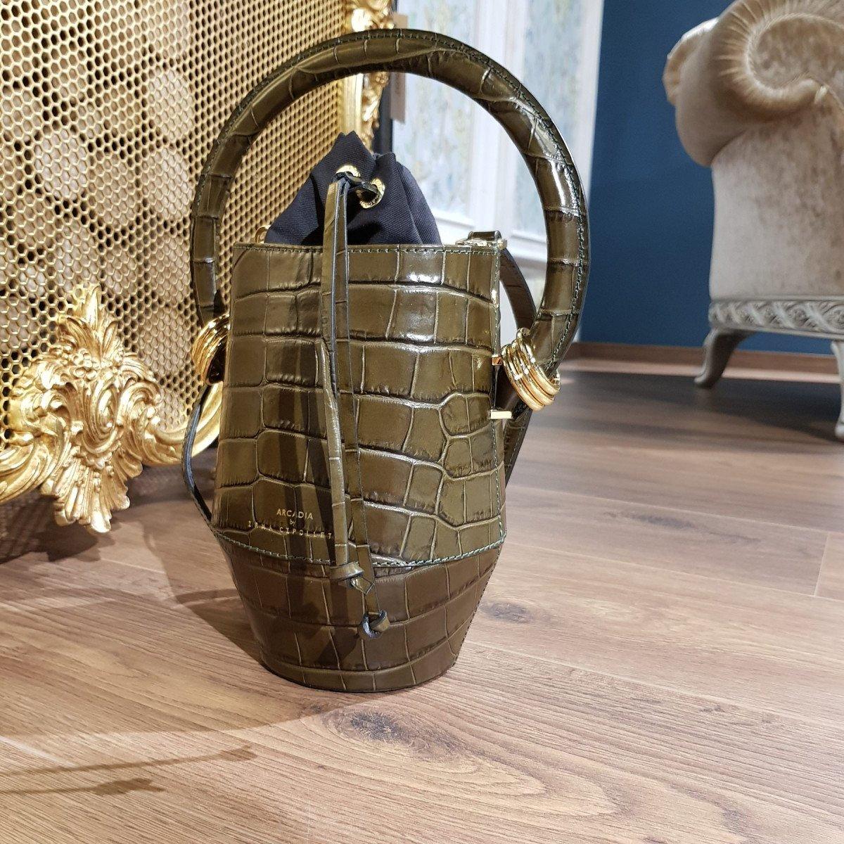 Итальянская женская сумка Arcadia 4586 balu verde из натуральной кожи