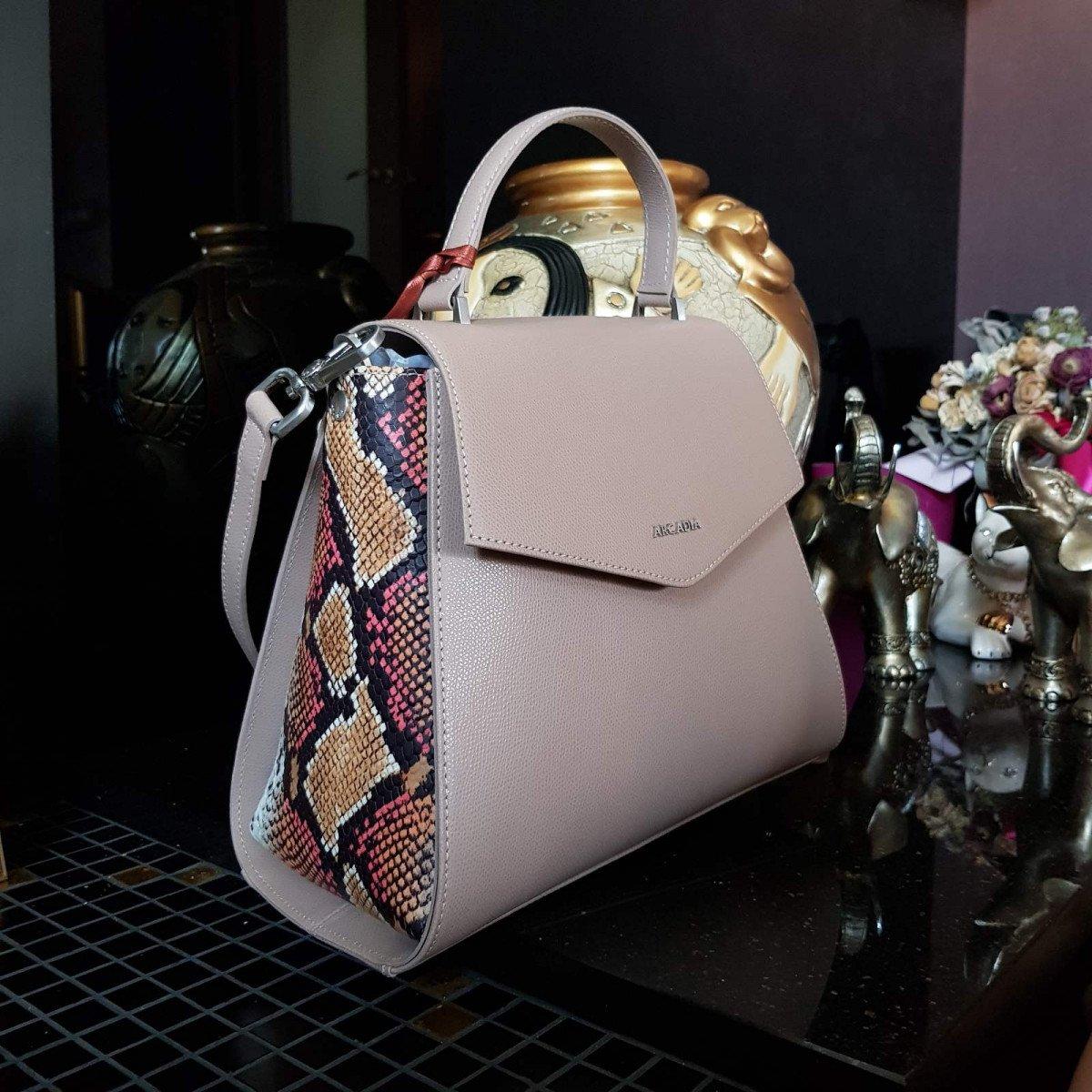 Женская кожаная сумка Arcadia 9190 palm+p beige/arancio из натуральной кожи