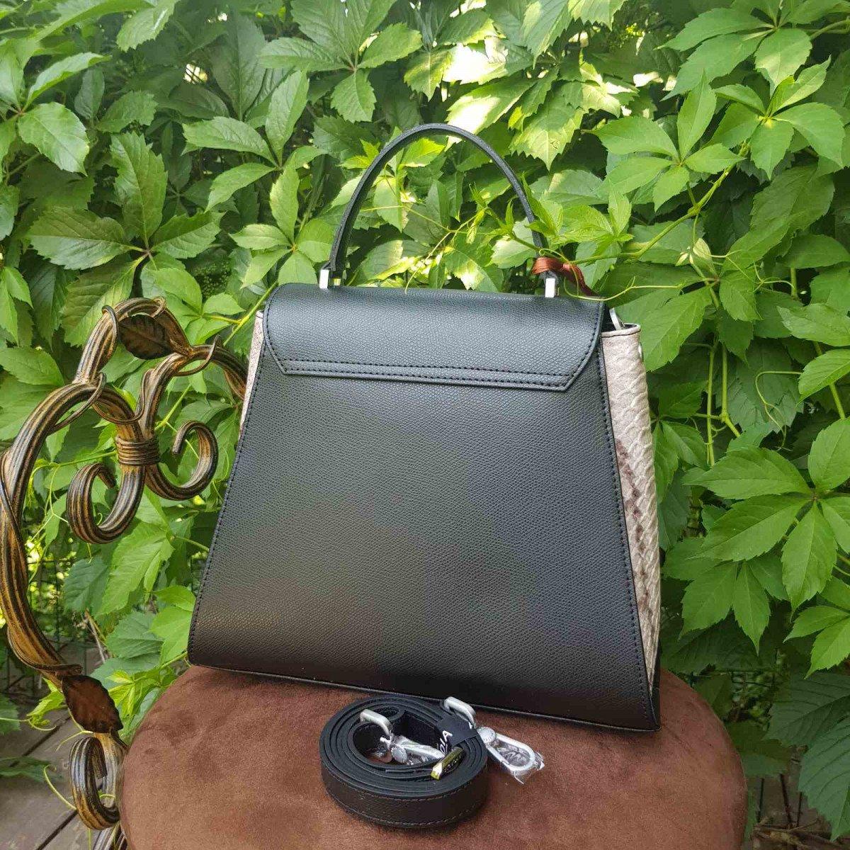 Женская кожаная сумка Arcadia 9190 palm+p nero/roccia из натуральной кожи
