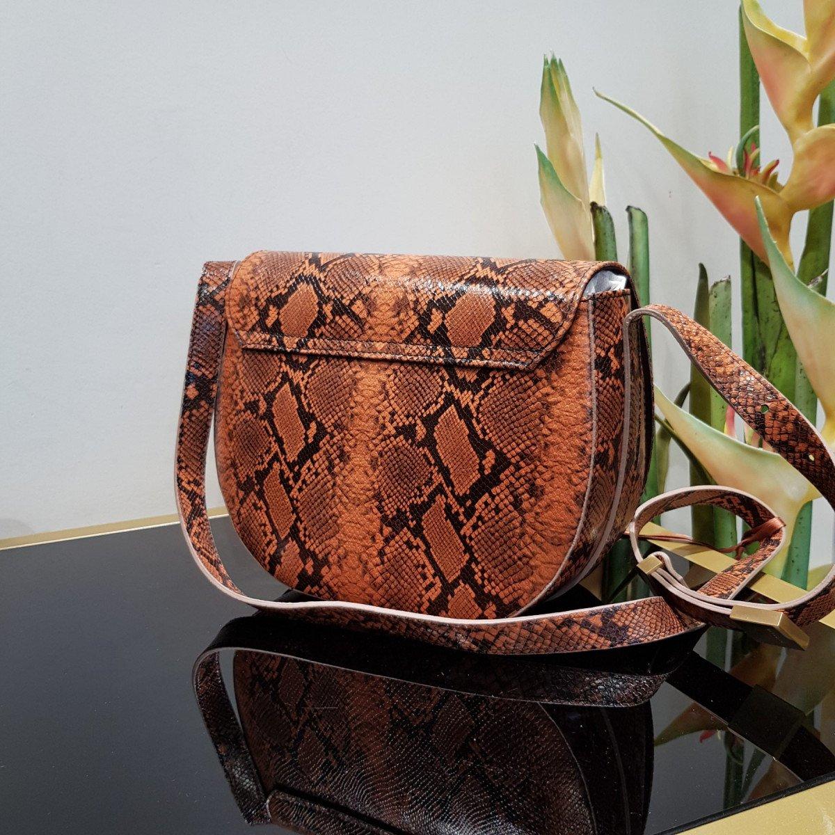 Итальянская женская сумка Arcadia 5455 mesis papaya из натуральной кожи