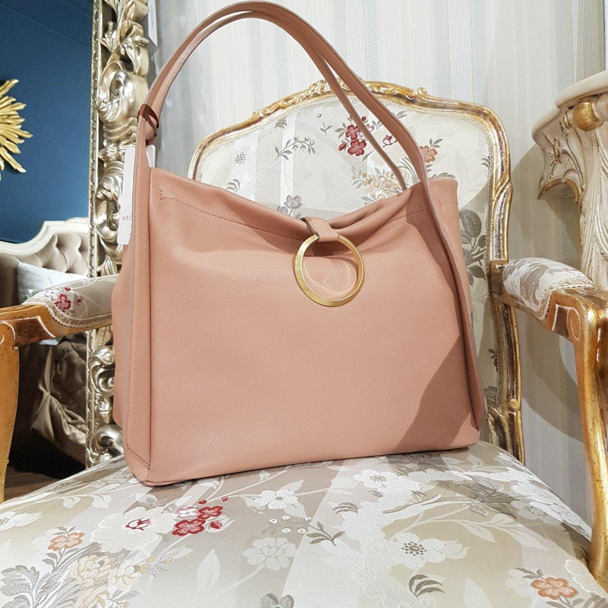 Итальянская женская сумка Arcadia 8158 will nude из натуральной кожи