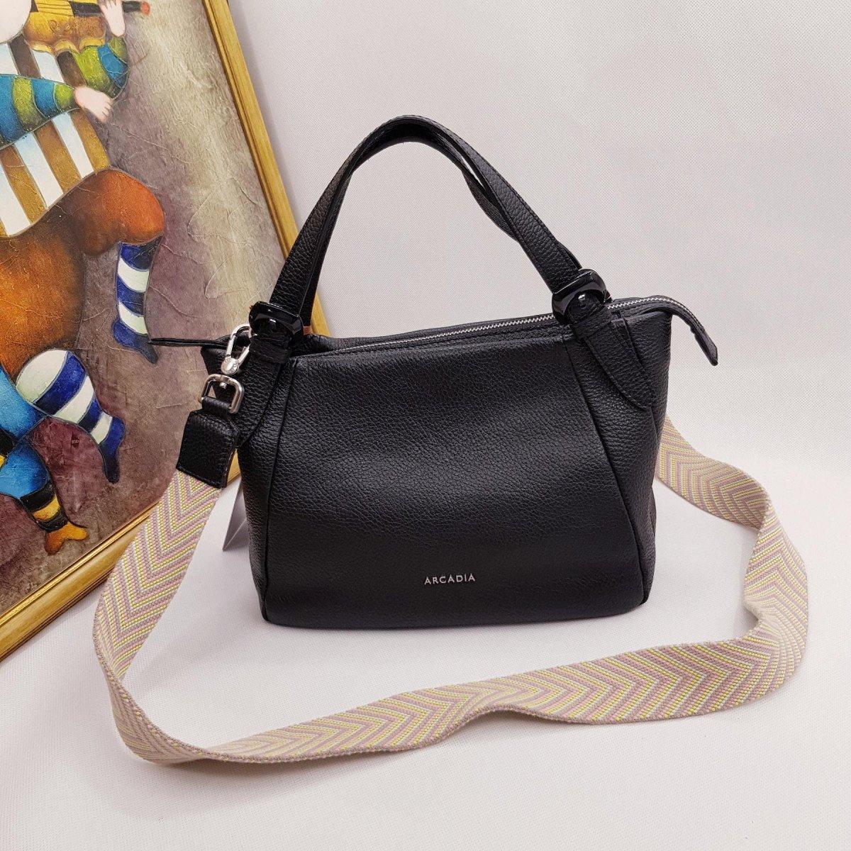 Женская кожаная сумка Arcadia 7558 mir nero из натуральной кожи