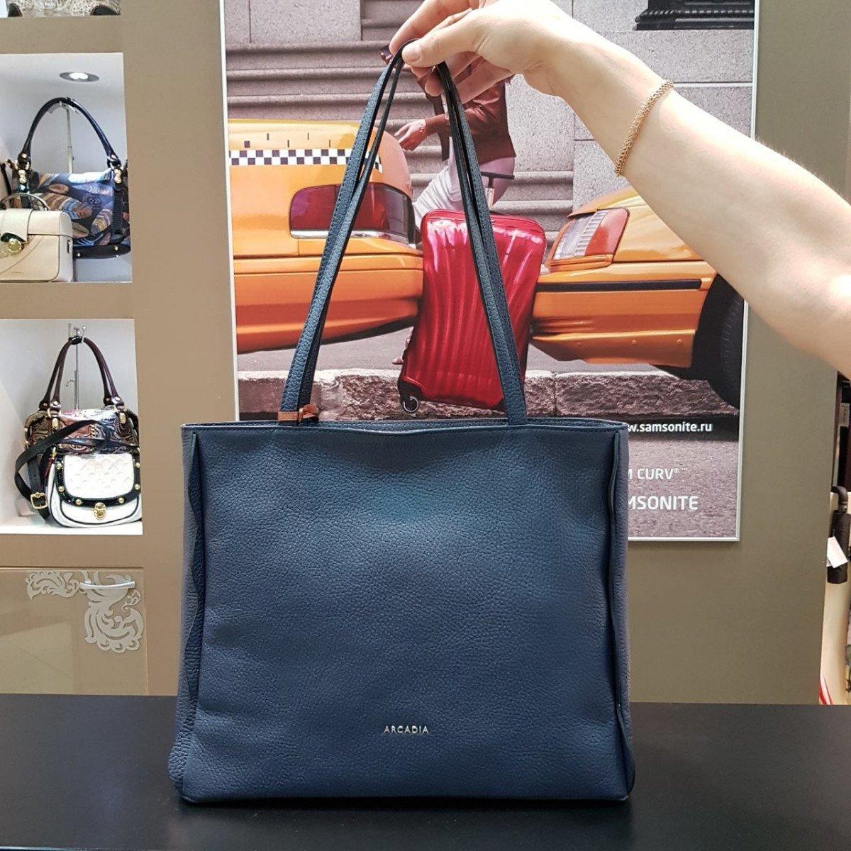 Женская кожаная сумка Arcadia 9183 mir blu из натуральной кожи