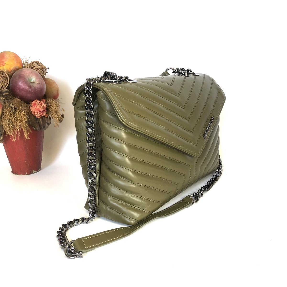 Женская кожаная сумку Di Gregorio 8774 VITTRAP oliva из натуральной кожи