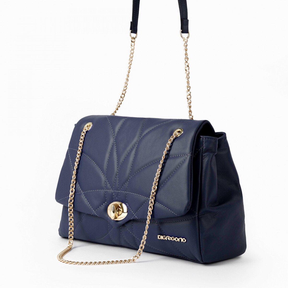 Женская кожаная сумка Di Gregorio 8847 DGR BLU из натуральной кожи