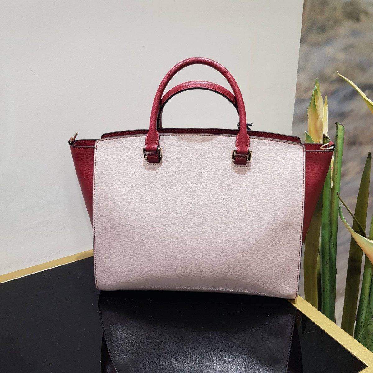 Женская кожаная сумка La Martina 41W004 O0001 biking red s grey brow из натуральной кожи