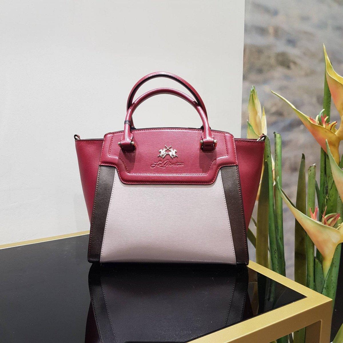 Женская кожаная сумка La Martina 41W005 O0001 biking red s grey brow из натуральной кожи