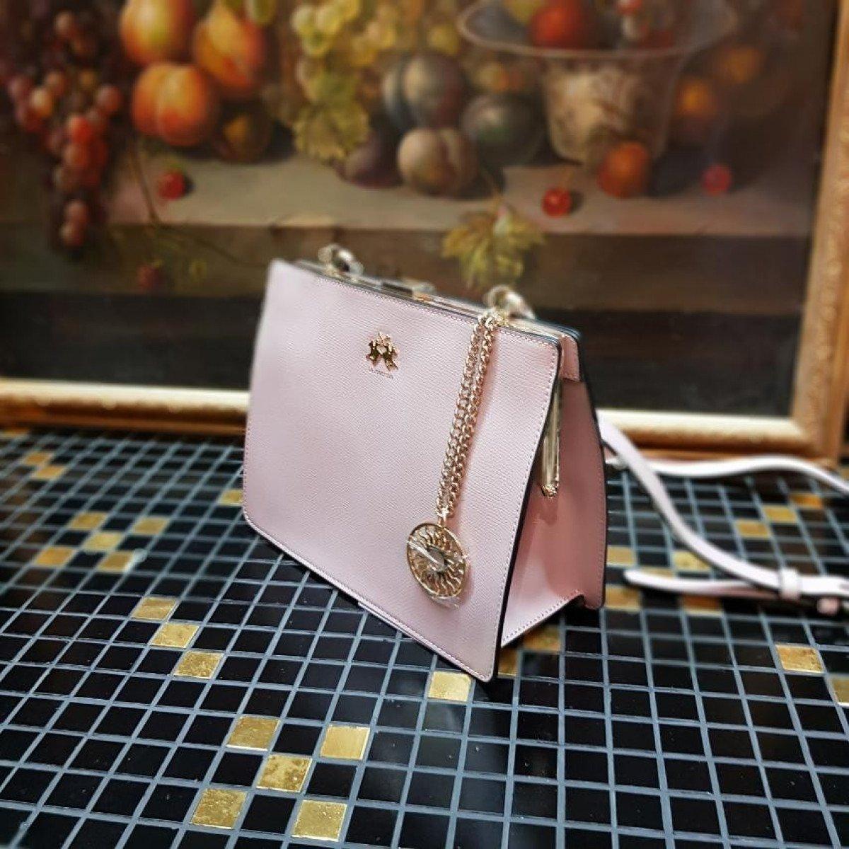 Женская кожаная сумка La Martina 41W334 O0005 shadow grey из натуральной кожи