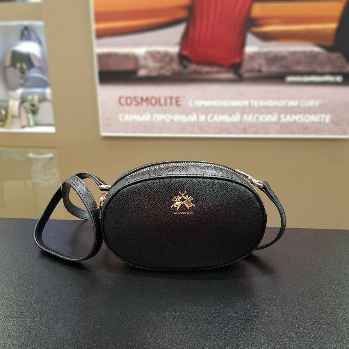 Женская кожаная сумка La Martina 41W336 O0005 black из натуральной кожи