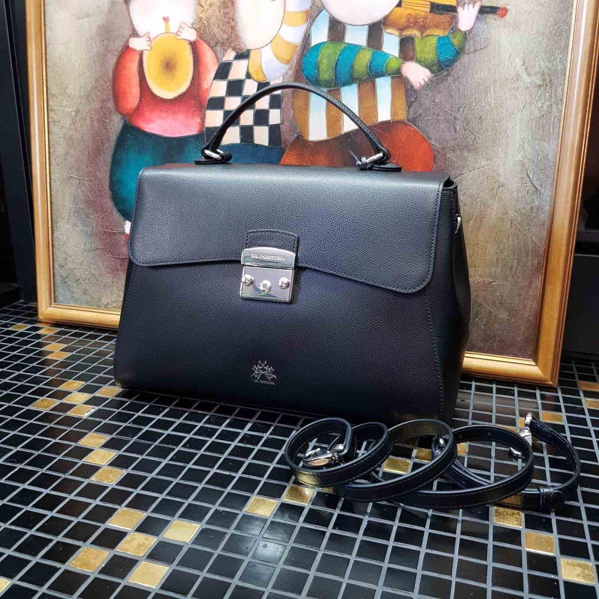 Кожаная женская сумка LA Martina 41W405 P0005 black из натуральной кожи из натуральной кожи