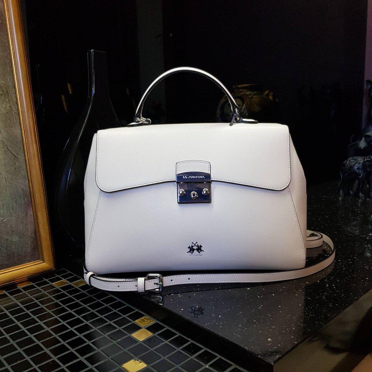Кожаная женская сумка LA Martina 41W405 P0005 whisper pink из натуральной кожи из натуральной кожи