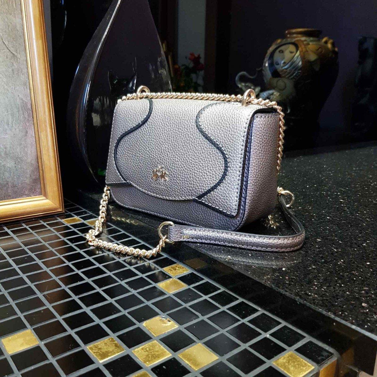 Кожаная женская сумка LA Martina 41W413 P0004 steel gray из натуральной кожи из натуральной кожи