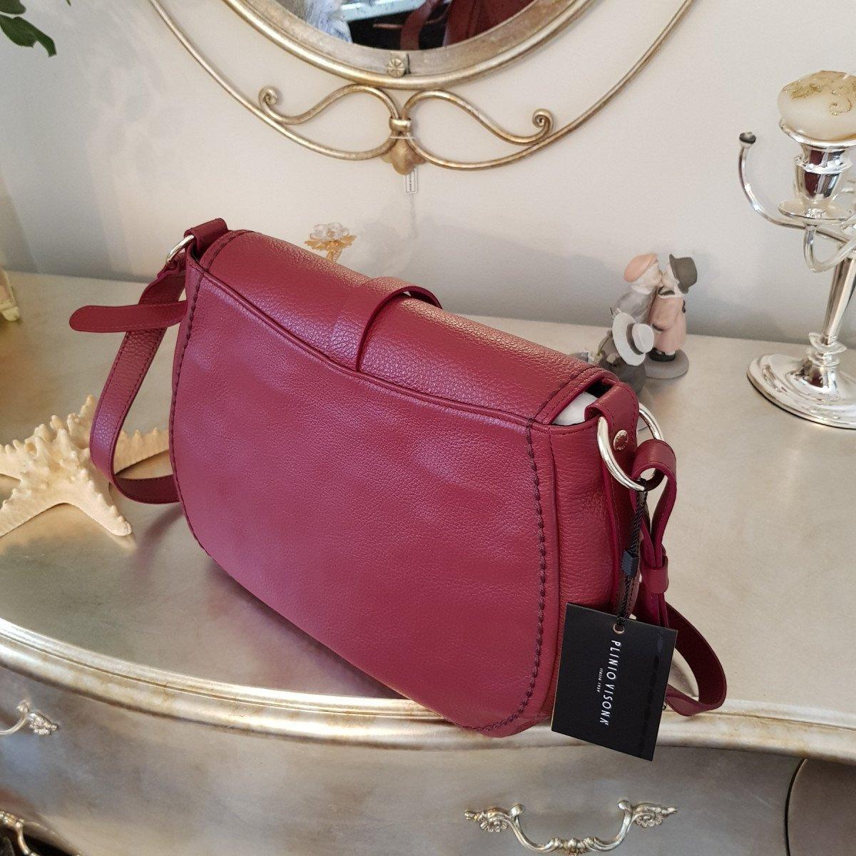 Женская кожаная сумка Plinio Visona 20501 California AMARENA из натуральной кожи
