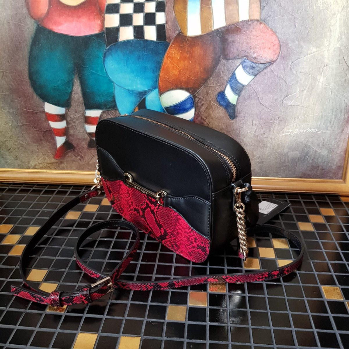 Женская кожаная сумка Ripani 2936HP.00315 Nero/rosso из натуральной кожи