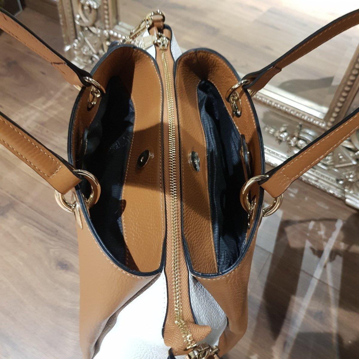 Женская кожаная сумка Ripani 3333OO Biscotto/Bianco из натуральной кожи