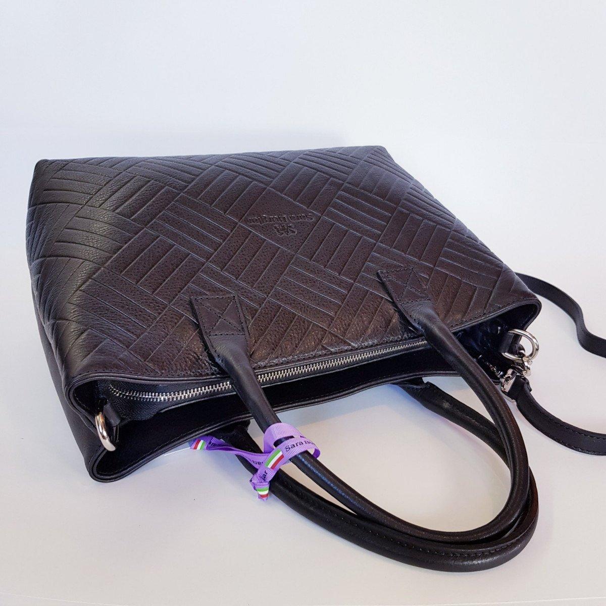 Женская кожаная сумка Sara Burglar A0S1D075 NERO из натуральной кожи