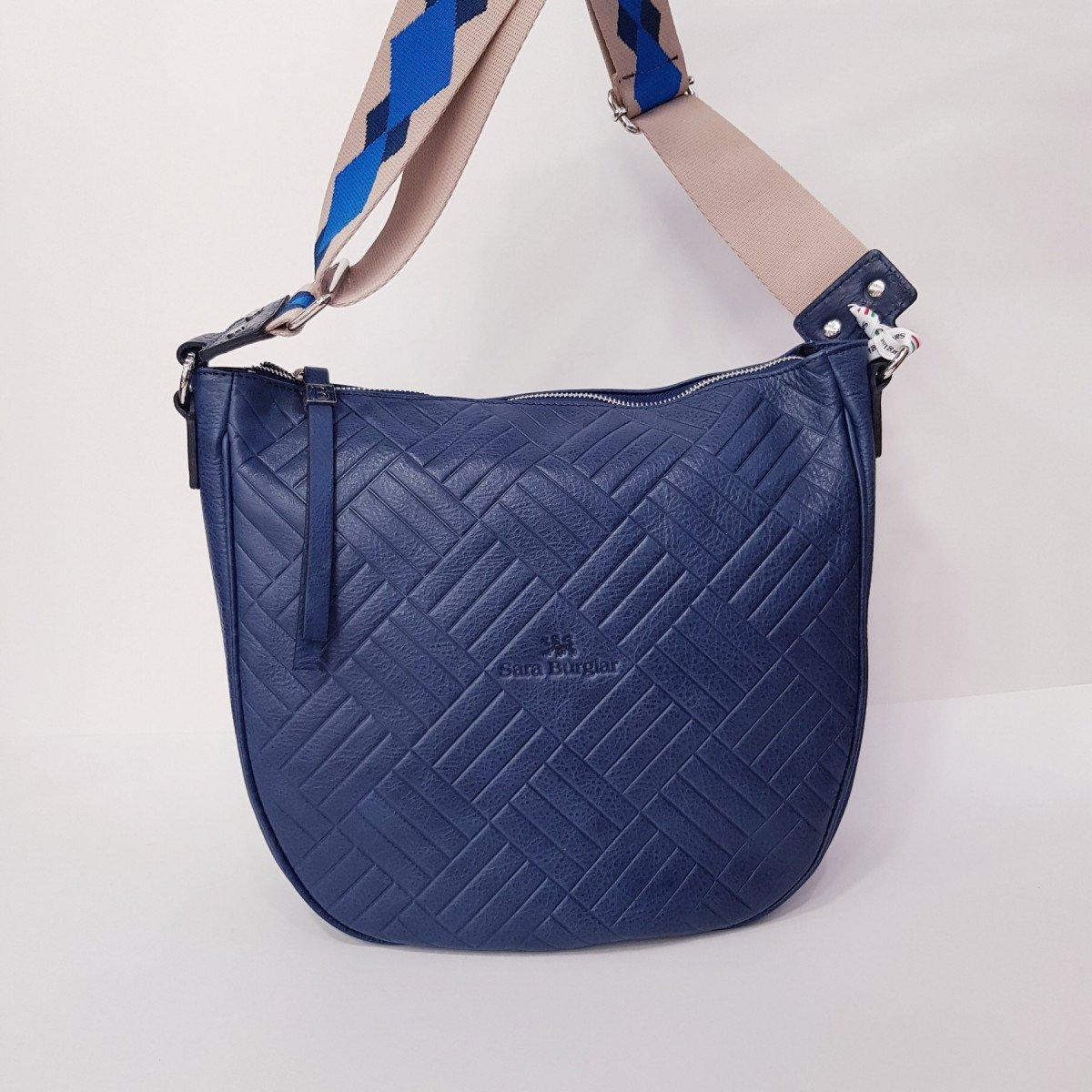 Женская кожаная сумка Sara Burglar A0S1D141 BLU из натуральной кожи