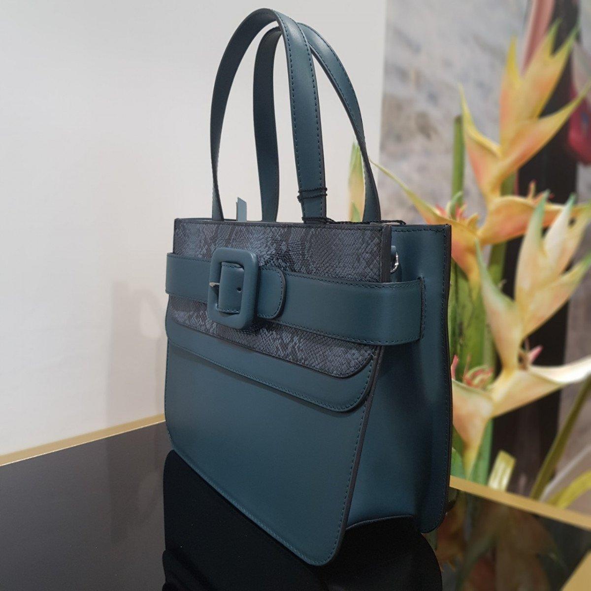 Женская кожаная сумка Tosca Blu TF19MB123 green pyton из натуральной кожи
