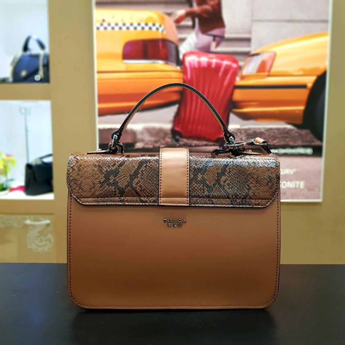 Женская кожаная сумка Tosca Blu TF19MB124 brown pyton из натуральной кожи