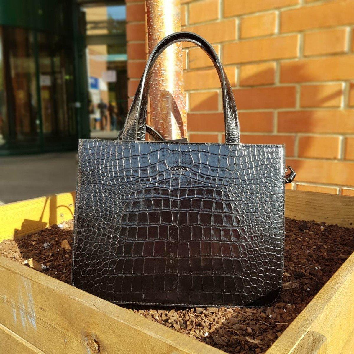Женская кожаная сумка Tosca Blu TF19MB126 black croco из натуральной кожи