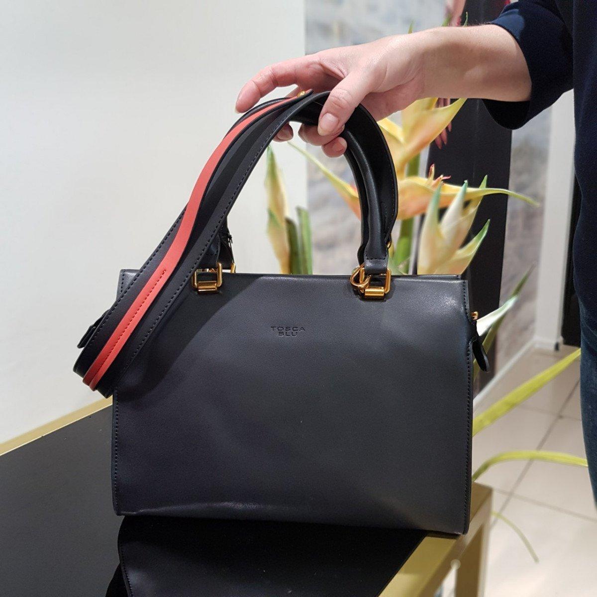 Женская кожаная сумка Tosca Blu TF19PB312 black dark red из натуральной кожи