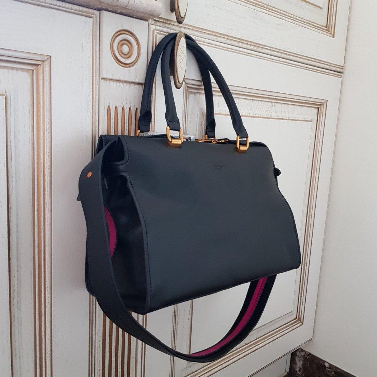 Женская кожаная сумка Tosca Blu TF19PB312 black fuchsia из натуральной кожи