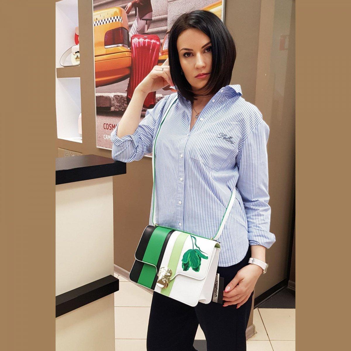 Кожаная женская сумка Tosca Blu TS2014B33 green из натуральной кожи